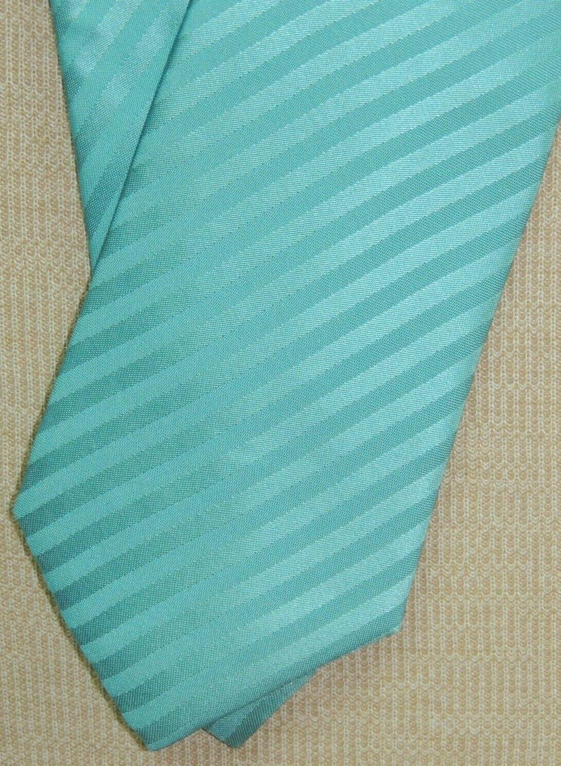 "Giorgio Armani Italy Neck Tie/Necktie Silk Teal Blue stripes 59""x3.75"" - $29.24"