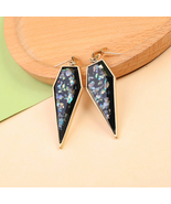Fresh Light Blue Resin Geometric Pendant 925 Silver Needle Drop Earrings  - $14.06