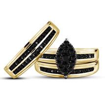 925 Sterling Solid Silver His & Her Wedding Black Diamond Gold Fn Trio Ring Set - $153.99