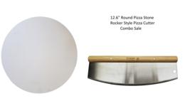 "Rocker Style Pizza Cutter + 12.6"" Round Pizza Stone Combo Pack - RocksHeat - $19.95"