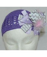 Unbranded Infant Toddler Purple Hat Stretch Removable Bow Multicolor - $17.00