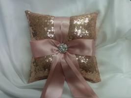 ROSE GOLD SEQUIN,  Ring Pillow, Basket, Guest book set -Colors- Flower G... - $17.00