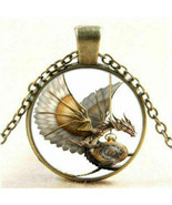 Vintage Steampunk Dragon Photo Cabochon Glass Bronze Pendant Necklace Je... - $10.65