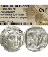 Rhodes. HELIOS facing head Rose NGC Certified Ancient Greek Silver Didra... - $355.50