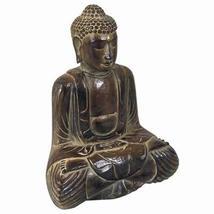 "Buddha AR526 Meditation Serenity Double Lotus Hand Carved Wood 14"" H - $69.29"