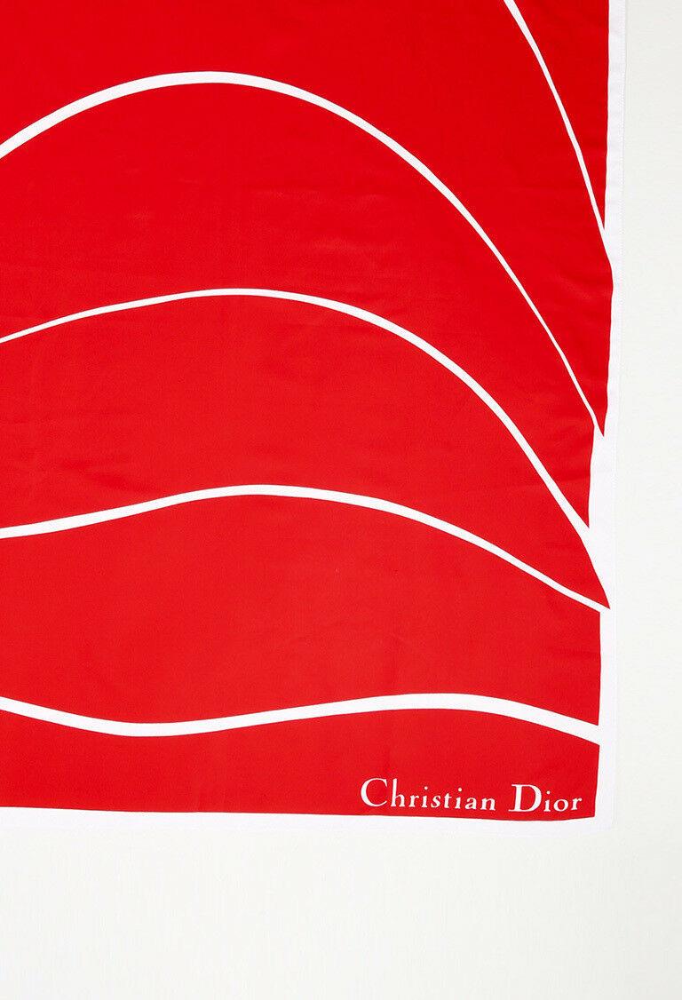 Christian Dior Red Silk Scarf