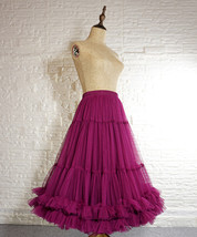 Copen Blue Layered Midi Tulle Skirt Plus Size A-line Layered Puffy Midi Skirt  image 5