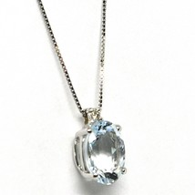 18K WHITE GOLD NECKLACE AQUAMARINE 1.65 OVAL CUT & DIAMOND, PENDANT & CHAIN image 2