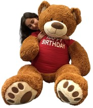 5 Foot Giant Teddy Bear 60 Inches Soft Cookie Dough Brown Color HAPPY BI... - $97.11