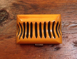Vtg Bakelite Butterscotch Amber Carved Chunky Charm Mid Century Buckle T... - $100.00