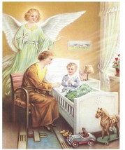 "Catholic Print Picture GUARDIAN ANGEL with Praying Boy vintage style 8x10"" - $14.01"