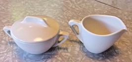 Vintage Prolon Ware Melmac White Creamer & Sugar with lid. Florence, Mass. - $10.69