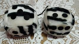 Three and a half inch white dice stuffed zebra print - $4.26