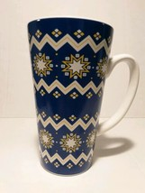 "Blue Snowflakes Ceramic Coffee Latte Mug Cup 2015 California Pantry 6"" t... - $16.63"