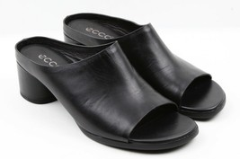 Womens ECCO Shape 45 Block Slide Heeled Sandal - Black Calf Size EU 39/U... - $134.99