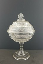 """EAPG 11"""" Tall Covered Compote 1800's Cut glass Leaf - $24.74"""