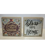 Pair of Small Wall or Tabletop Décor A DREAM / BLESS THIS HOME  - $16.82