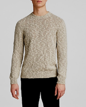 Knobby Mens Crewneck Sweater Chunky Pullover Natural Beige Jumper Size LARGE - $19.75
