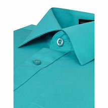 Omega Italy Men's Turquoise Dress Shirt Long Sleeve Solid Color Regular Fit - M image 3