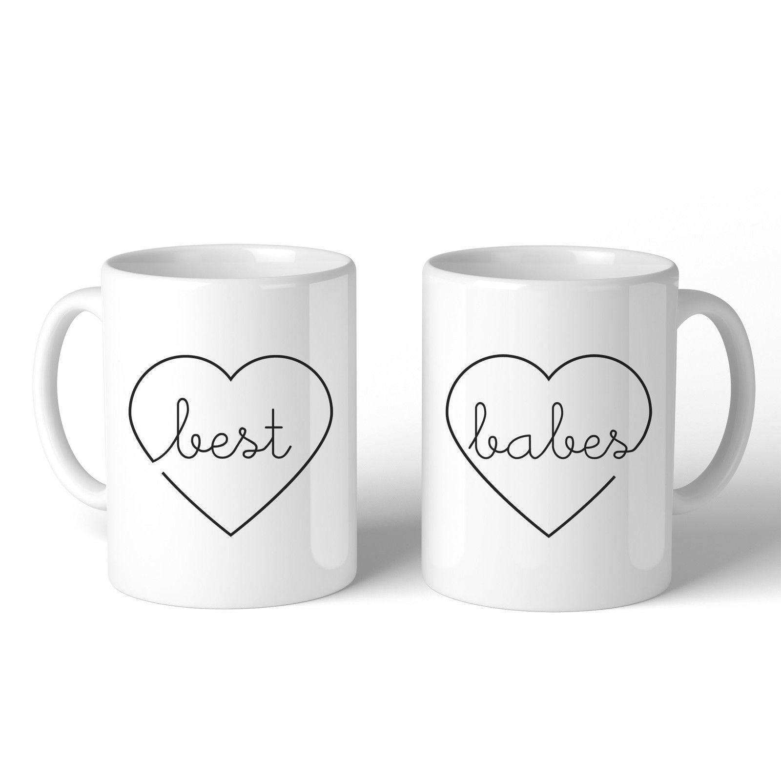 Best Babes BFF Matching White Mugs