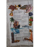 VINTAGE LINEN CLOTH KITCHEN TOWEL ST. LUCIA WI. FISH RECIPES BY KAY DEE ... - $9.89