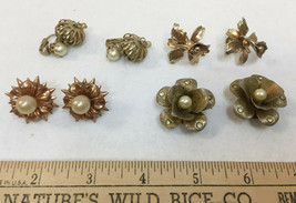Earrings Clip On Screw Back Jewelry Craft Metal Floral Faux Pearl Vintag... - $8.90