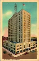 Kansas ks wichita allis hotel unp vtg linen postcard curt teich unused. - $2.94