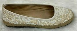 A2 Aerosoles Ballet Flat Women 7 Beige White Lace Overlay Jute Trim Espadrilles - $24.70