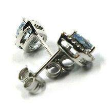 18K WHITE GOLD AQUAMARINE EARRINGS 0.71 CARATS, DROP CUT, DIAMONDS FRAME image 4