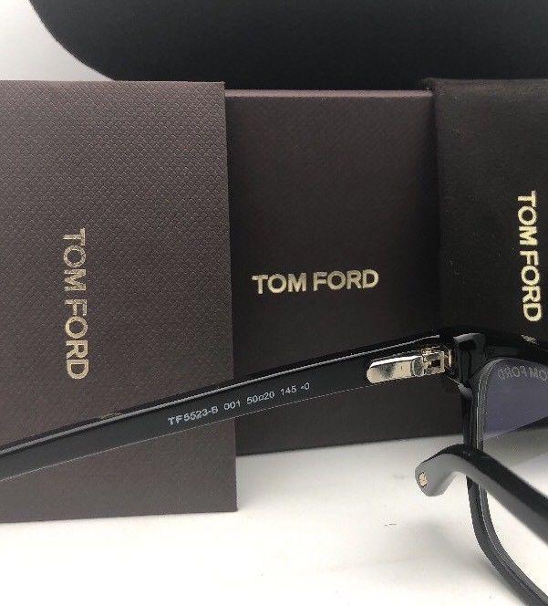 New TOM FORD Eyeglasses TF 5523-B 001 50-20 145 Black & Gold Frame w/ Clear Lens