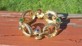 VINTAGE BRACELET GOLD PLATED GREEN/BLUE/RED LUCITE CABOCHON   - $35.00