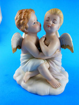 """Home Interiors HOMCO Kissing Angels Bisque Porcelain Figurine # 8838 4 3/4"""" tall - $17.81"""