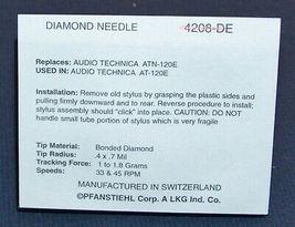 STYLUS RECORD PLAYER NEEDLE for Audio Technica ATN-120E AT-120E 4208-DE 208-DE image 3