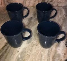 Royal Norfolk Royal Blue Stoneware Coffee Mugs Dinnerware Cups-Set Of 4-SHIP 24H - $29.58