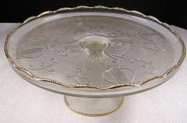 JEANNETTE HARP GLASS PEDESTAL CAKE PLATE STAND GOLD SCROLL VINTAGE DEPRE... - $21.03