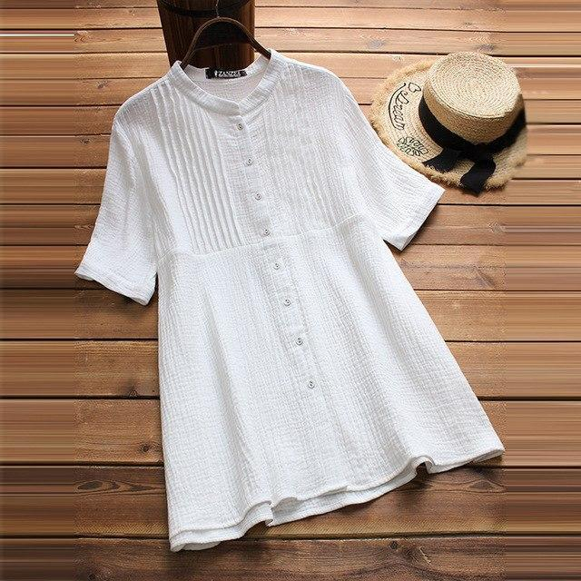 2018 Plus Size ZANZEA Summer Party Solid Pleated Blouse Women Casual Short Sleev