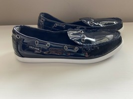 COLE HAAN Nantucket Camp Moccasins Navy Blue Patent Leather Women's 10B ... - $15.99