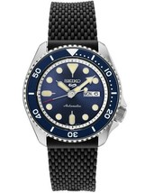New Seiko 5 Automatic Blue Dial Rubber Strap Men's Watch SRPD93 - $199.95