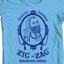 Zig Zag blue T-shirt retro vintage 70's hippie graphic printed 100% cotton tee image 1