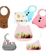 SET of 2 - 3D Silicone Baby Bibs, BPA Free, Dishwasher Safe, Food Grade Silicone - $22.38