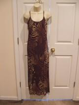 N Ew Brown Purple Beige Swirl Fully Lined Long Dress Size 6 - $37.12