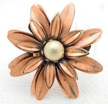 "VTG Matisse RENOIR Signed ""ANEMONE"" Flower Faux Pearl Copper Brooch Pin - $99.00"