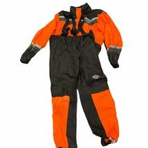 Harley Davidson Mens Orange Black Motorcycle Riding Gear Rain Suit Size 2XL - $123.74