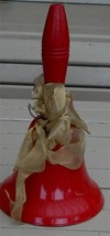 Great Wooden Handled Steel Christmas Bell, VERY GOOD COND SOUNDS GREAT - $11.87
