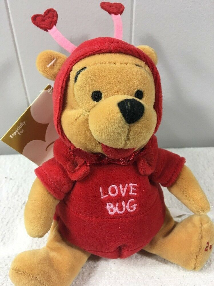 Primary image for DIsney Store Winnie the Pooh Firefly Love Bug Mini Bean Bag Plush Valentines Day