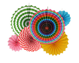 6pk Vibrant Colors Hanging Paper Fans Party Decorations Party Supplies Sets - $5.89
