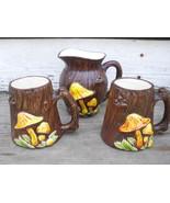 (2) Mushroom Tree Stump Mugs + Cream Pitcher Set  - Treasure Craft USA S... - $24.00