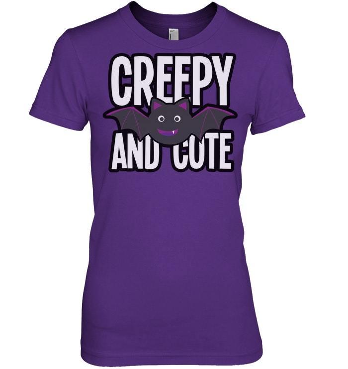 Funny Halloween Tshirt Creepy And Cute Vampire Bat Scary