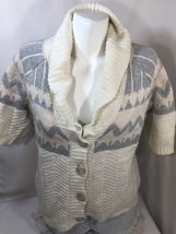 Old Navy Women Sweater Weave Herringbone elbow sleeves Button Up White B... - $15.88