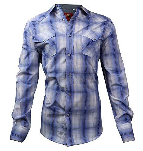 Rodeo Clothing Co. Men's Western Cowboy Pearl Snap Long Sleeve Plaid Shirt